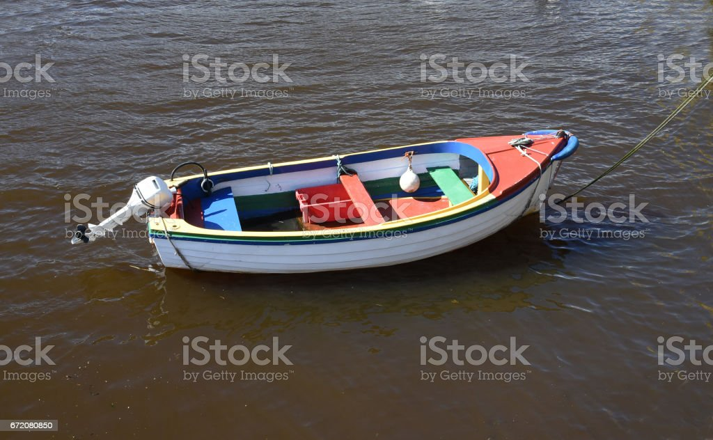 Boat in Goodwick Harbour, Pembrokeshire, Wales, UK stock photo