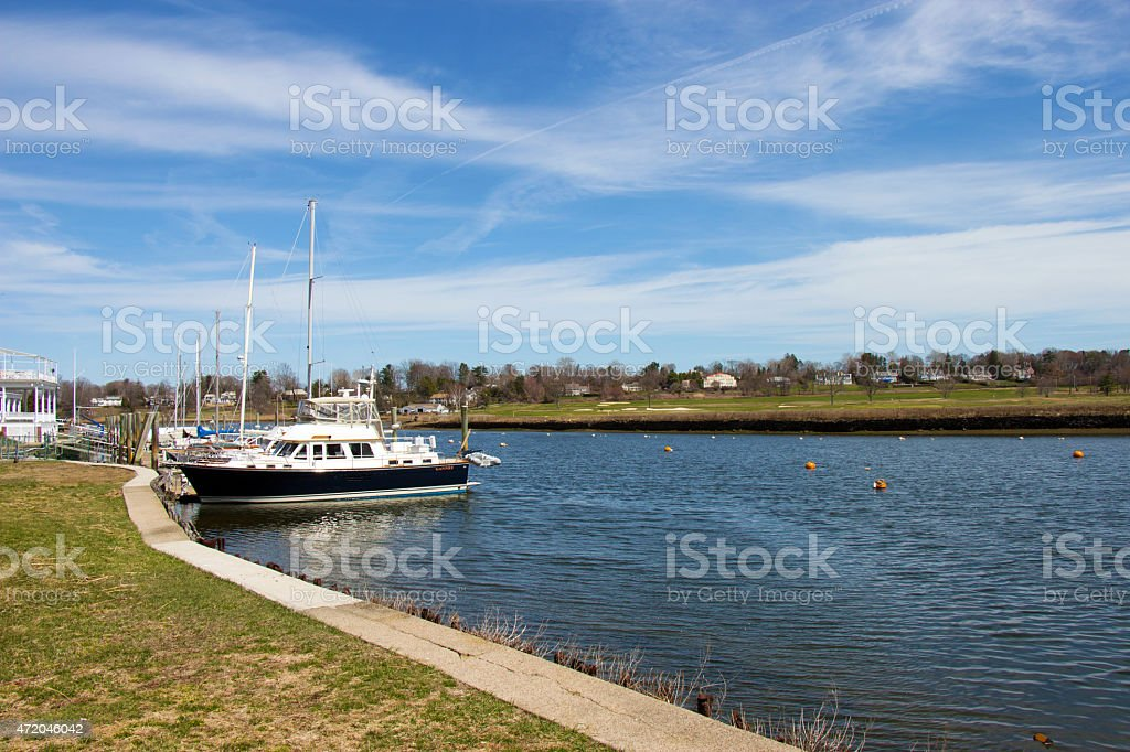 Boat in Harbor in Connecticut stock photo