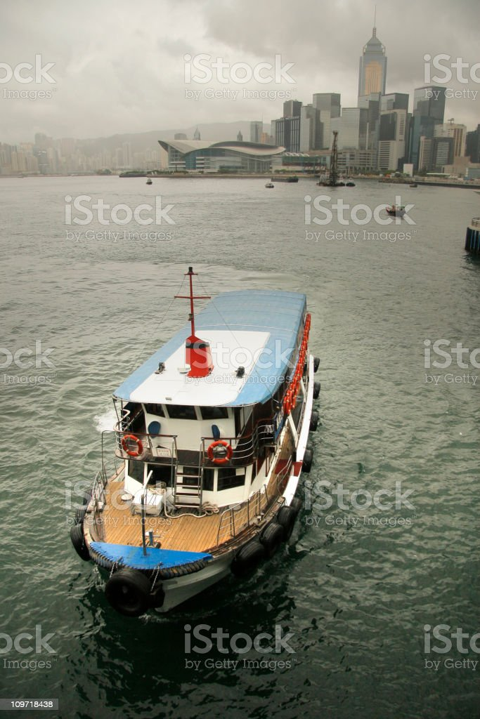 Boat in Hongkong Harbor stock photo