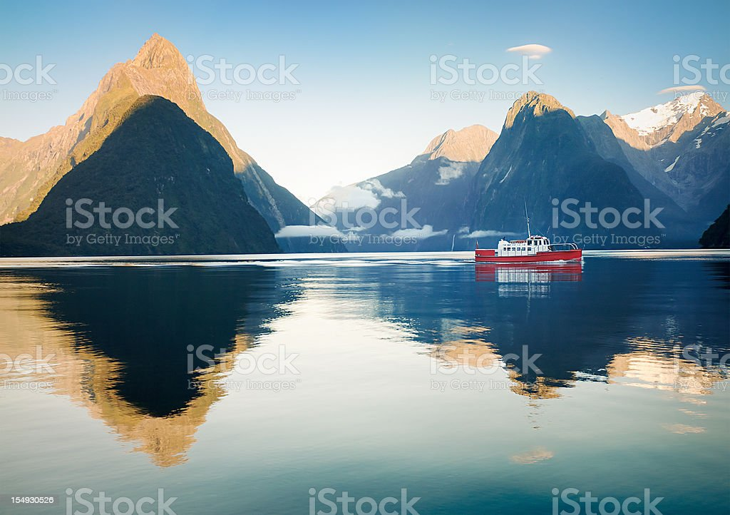 Boat in Milford Sound royalty-free stock photo