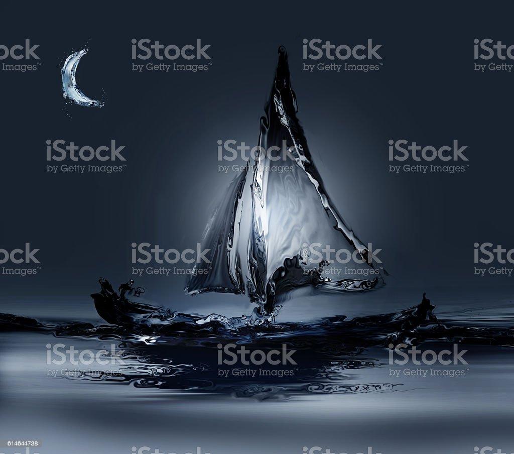 Boat in Moonlight royalty-free stock photo