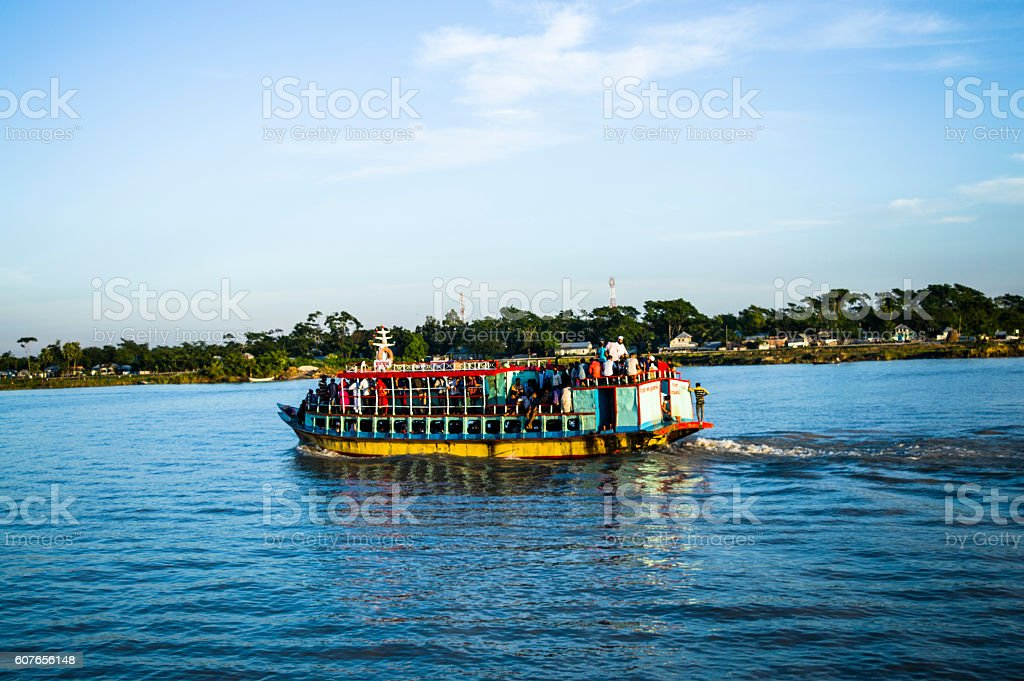 Boat In  River With Busines And Tourist People stock photo