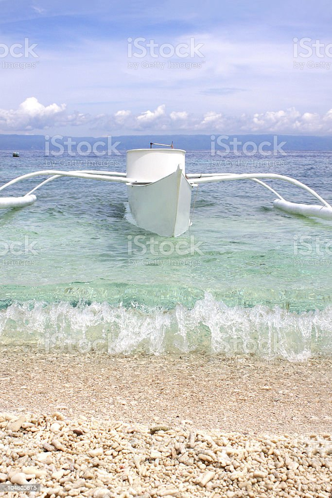 Boat in Running Wave stock photo