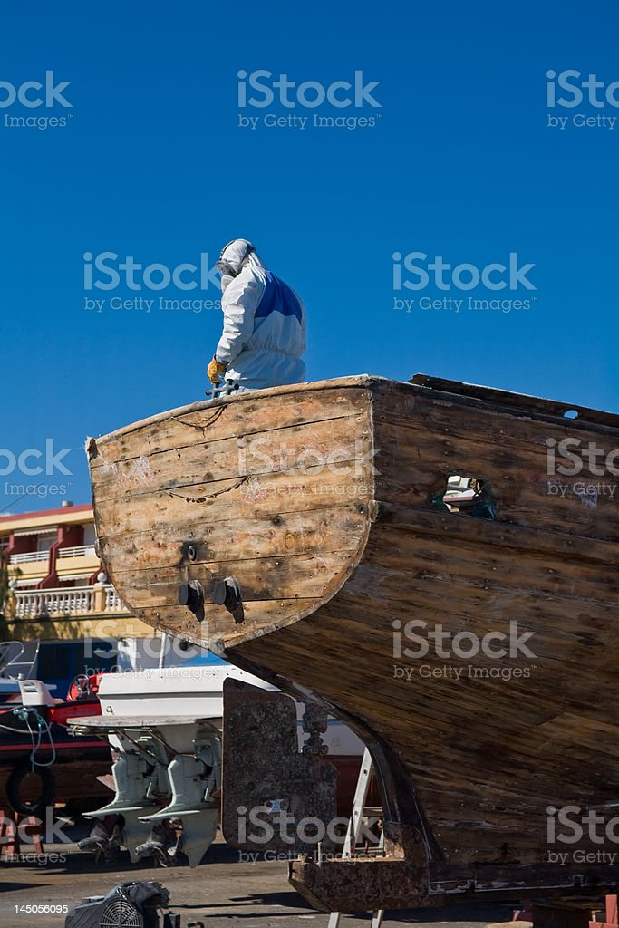 Boat in shipyard royalty-free stock photo