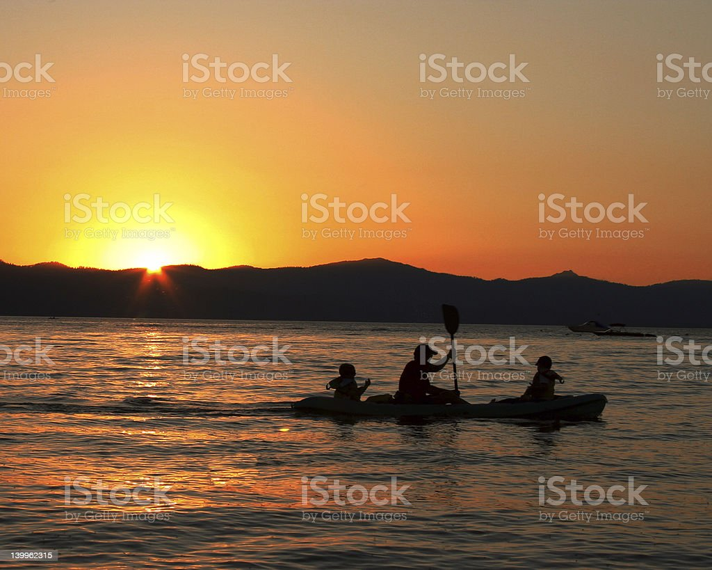 Boat in sunset royalty-free stock photo