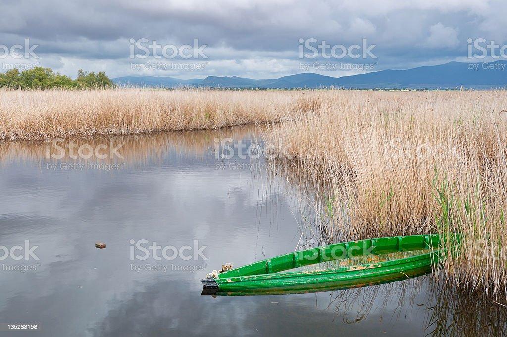Boat in tablas de Daimiel National Park, Spain royalty-free stock photo