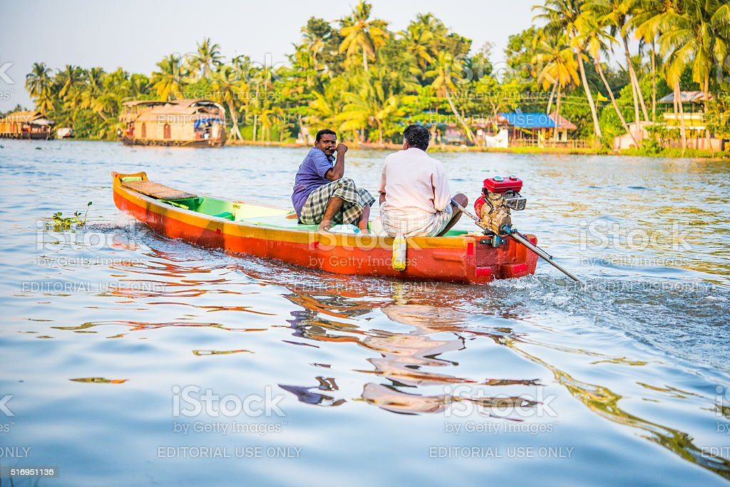 Boat in the Backwaters of Kerala stock photo
