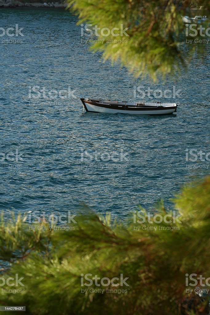 Boat in the bay royalty-free stock photo