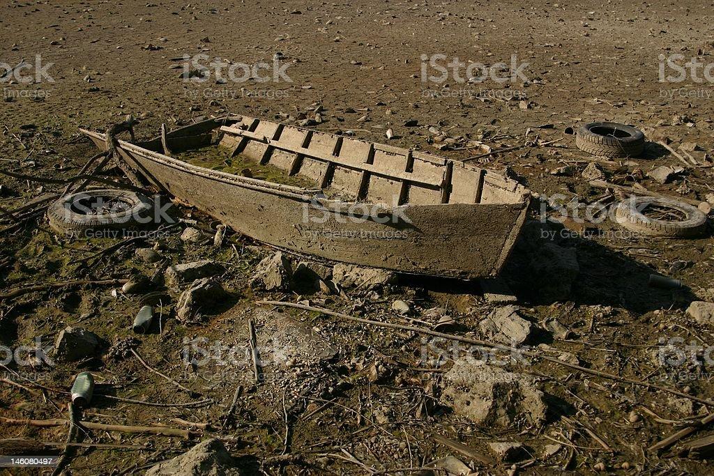 Boat in the desert royalty-free stock photo