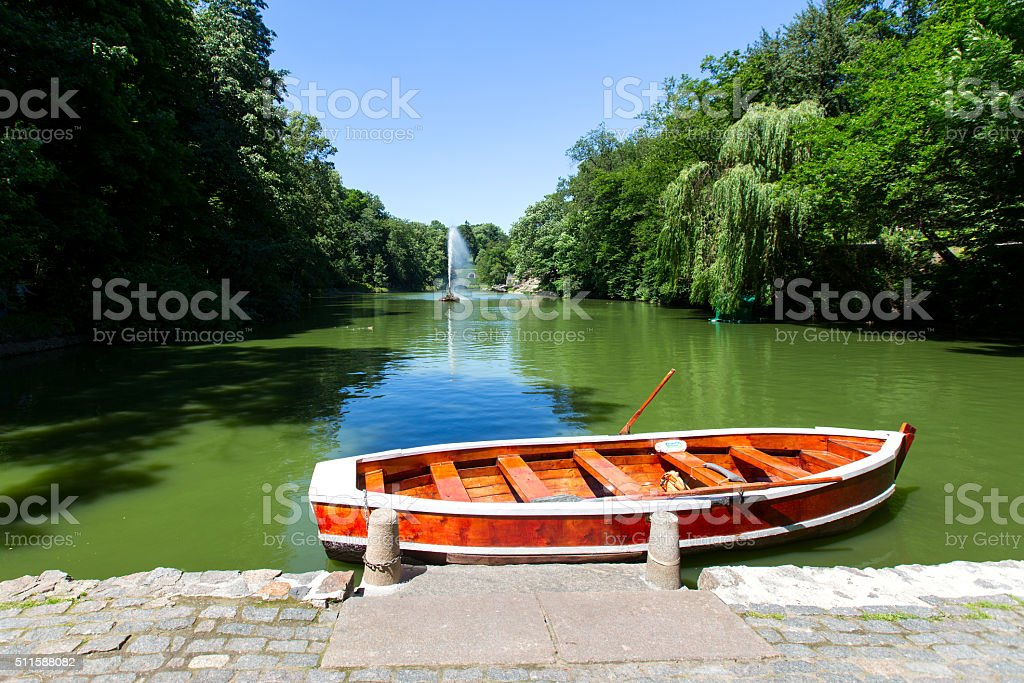 Boat in the lake, the park Uman stock photo