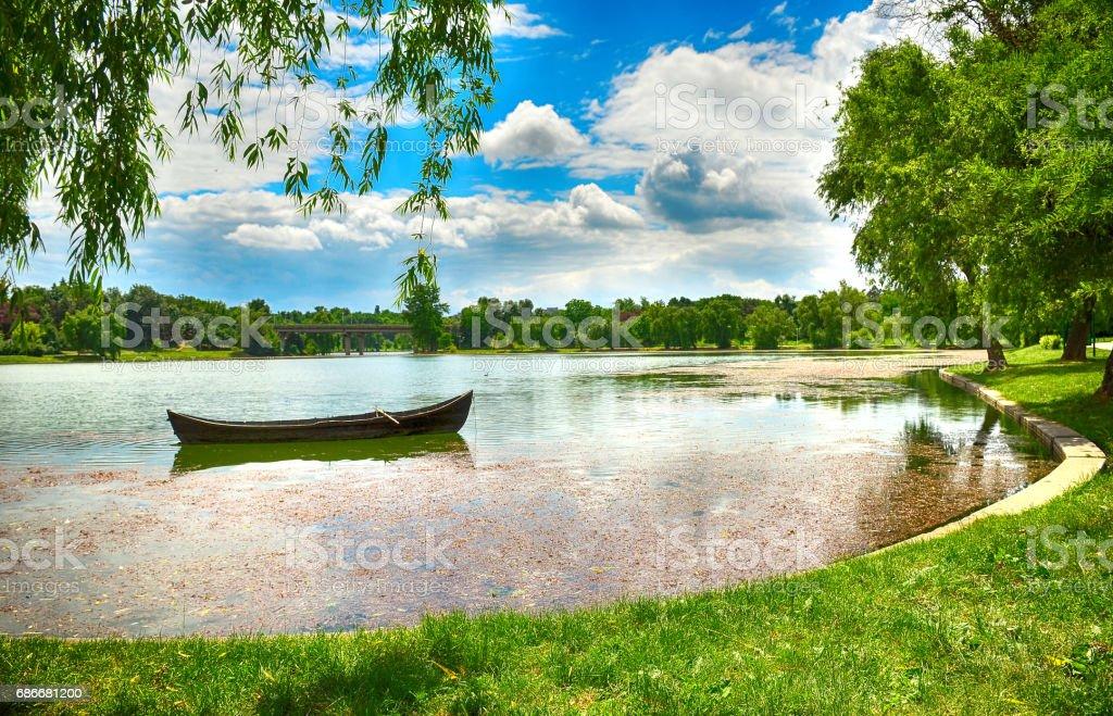 Boat in the Park stock photo