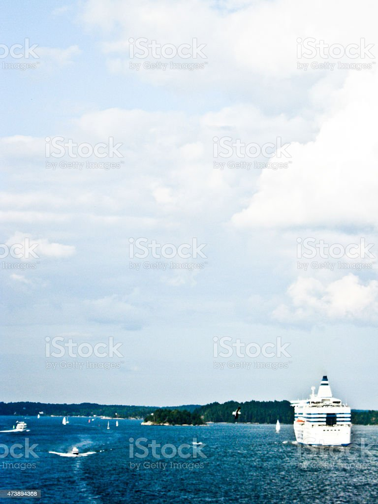 Boat in the plain blue water used for background royalty-free stock photo