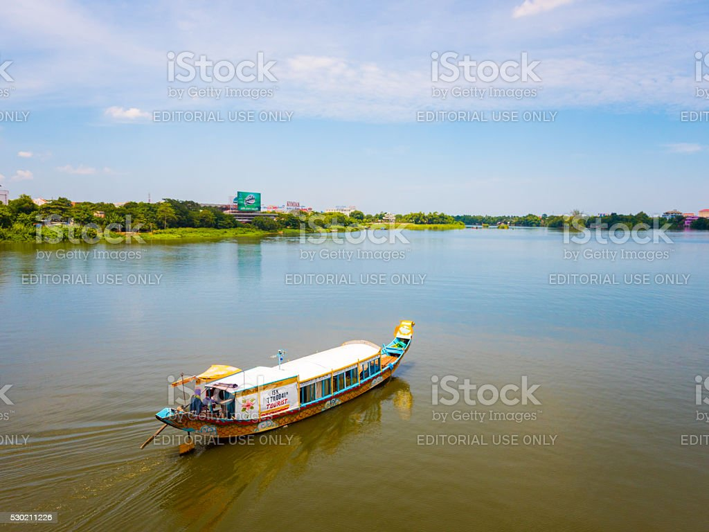 Boat in the riverbank in Hue, Vietnam stock photo