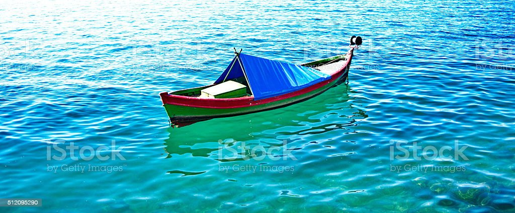 boat in the sea stock photo