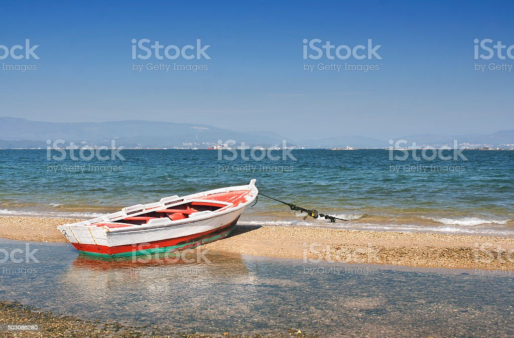 Boat in the wind stock photo