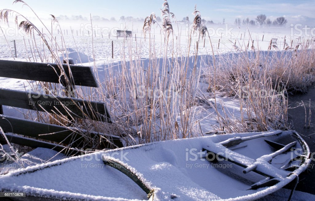 Boat in the winter stock photo