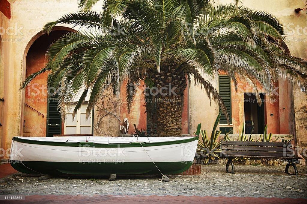 Boat in the yard stock photo