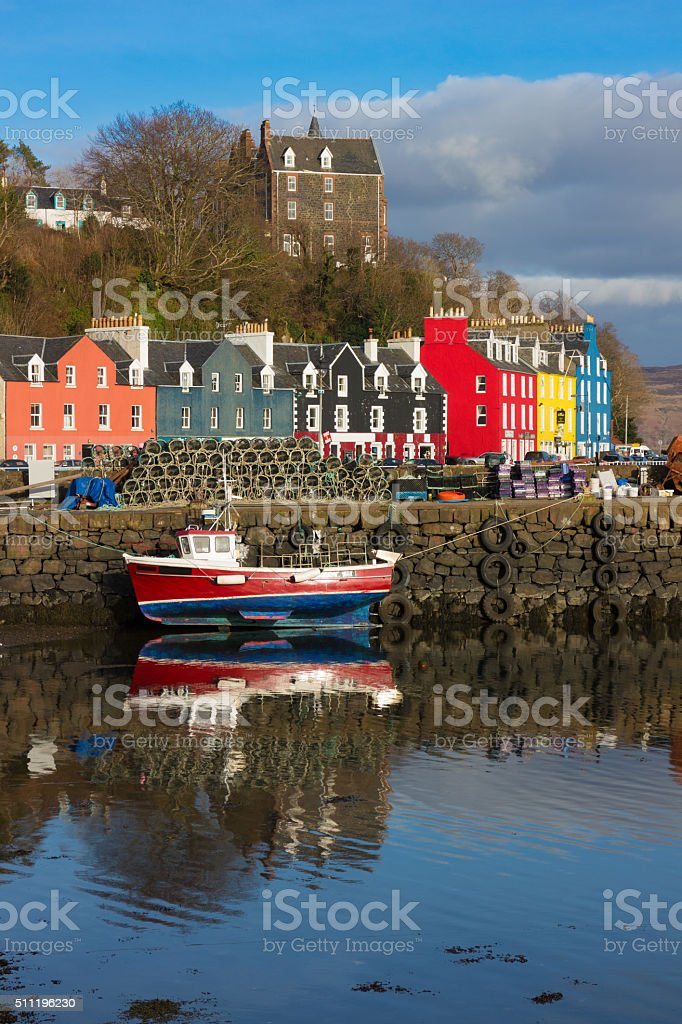 boat in tobermory harbour stock photo