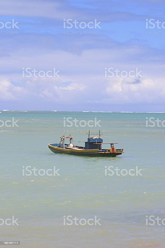 Boat in Tropical Beach (Brazil) royalty-free stock photo