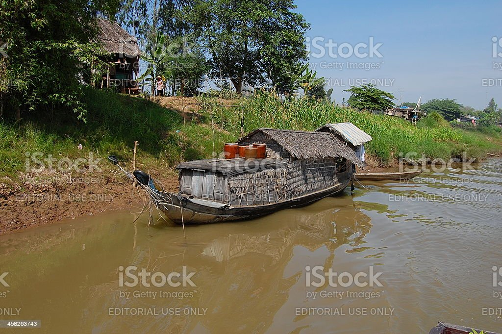 Boat in vinh xuong - Vietnam border, floating village royalty-free stock photo