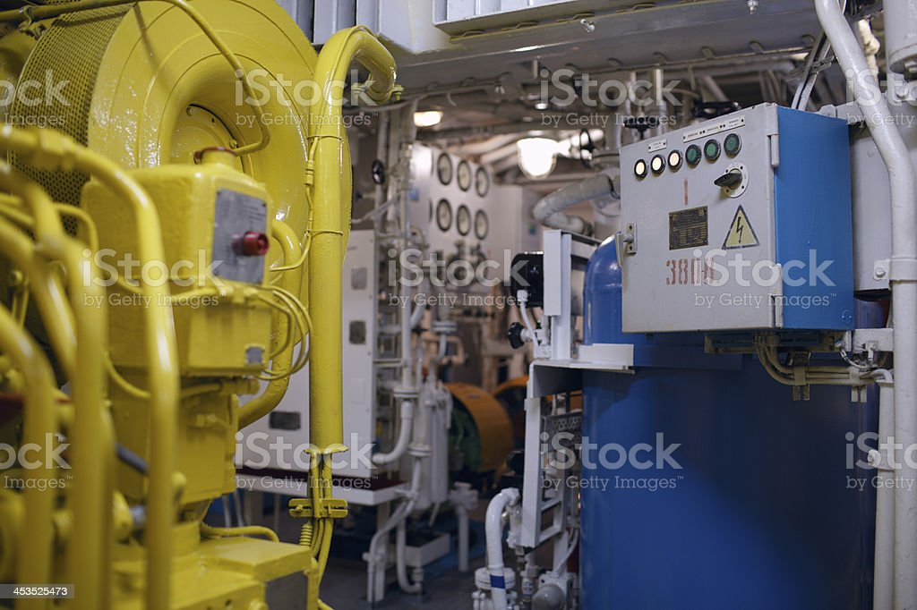 Boat interior with control panel instruments stock photo