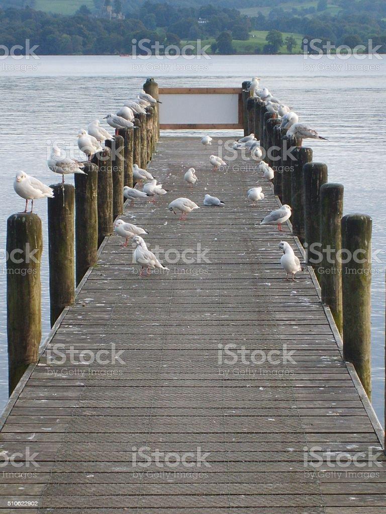 Boat jetty, Lake Windermere, Cumbria, England stock photo