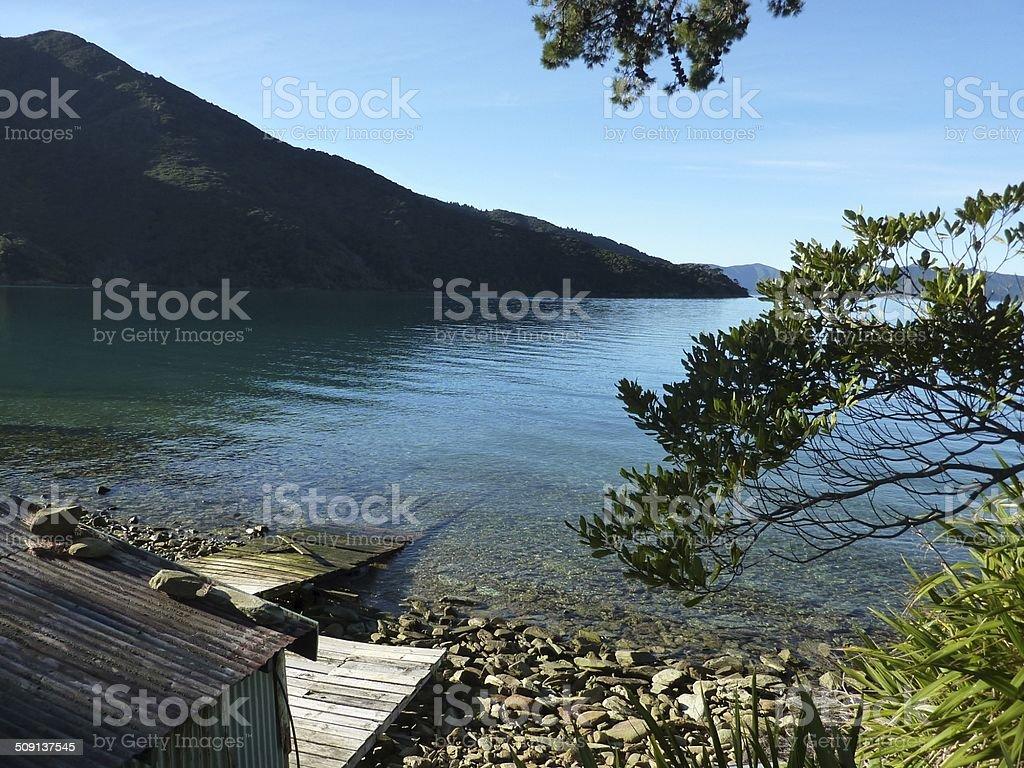 Boat jetty New Zealand stock photo