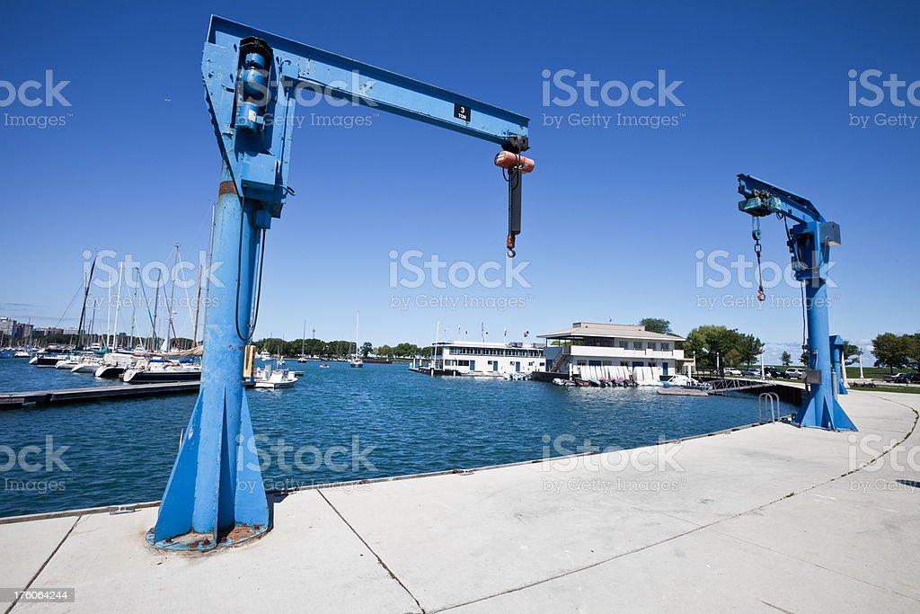 Boat Jib Cranes in Chicago Marina stock photo