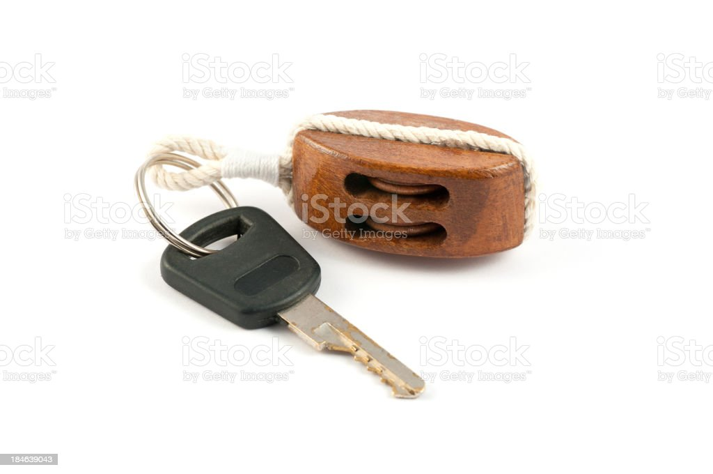 Boat key with floating block royalty-free stock photo