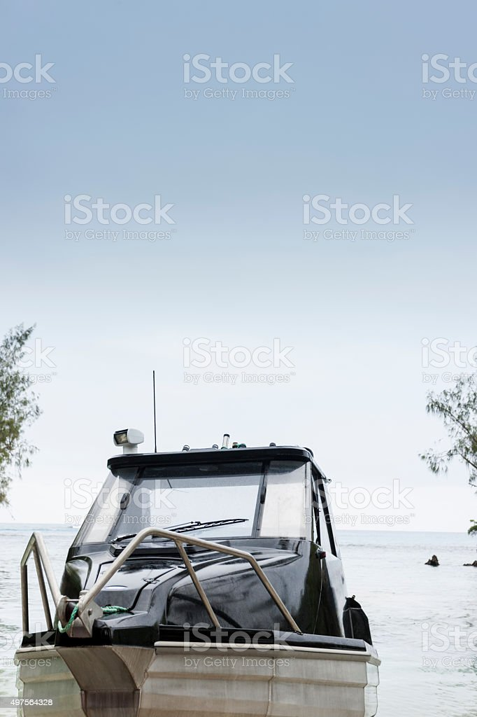 Boat launching into the water stock photo