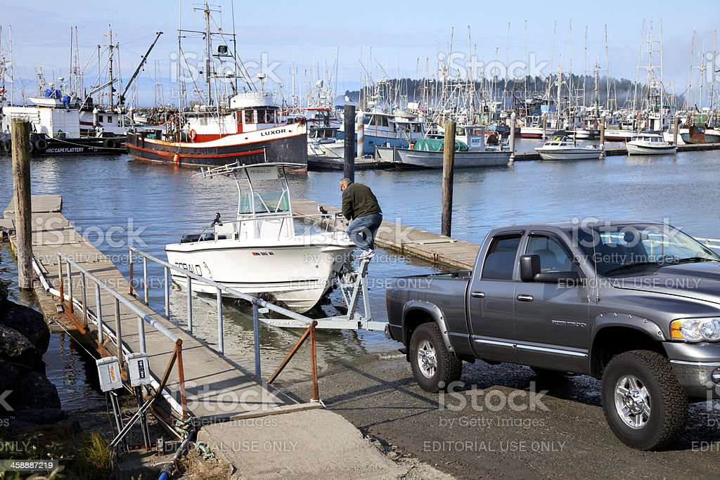 Boat launching stock photo