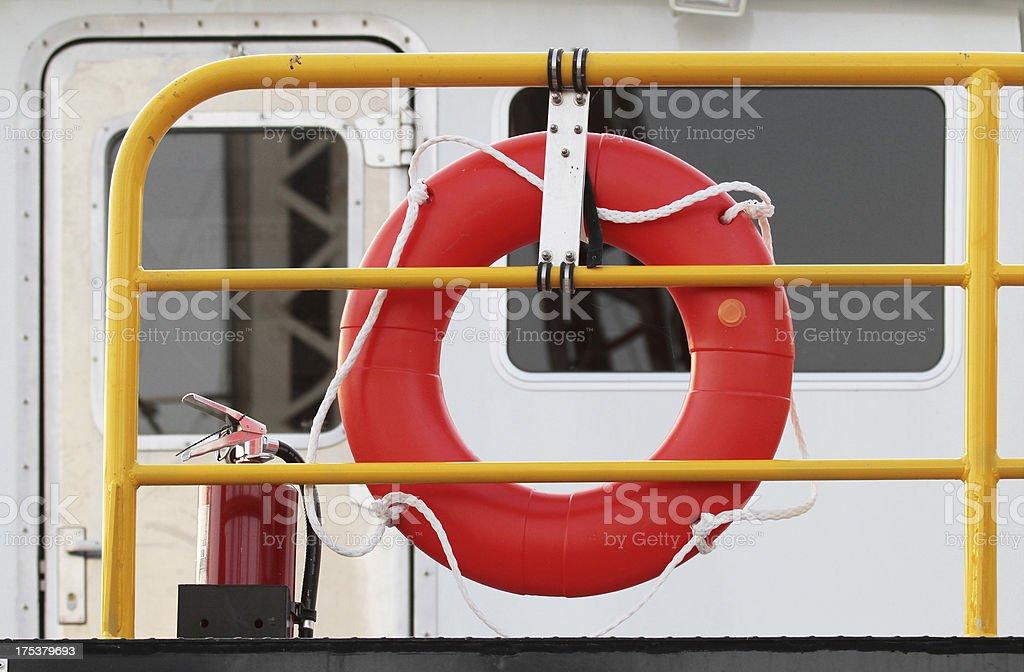 Boat life preserver stock photo