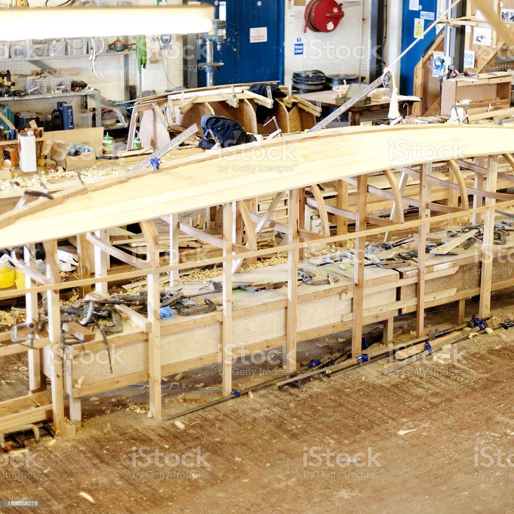 Boat making in progress royalty-free stock photo