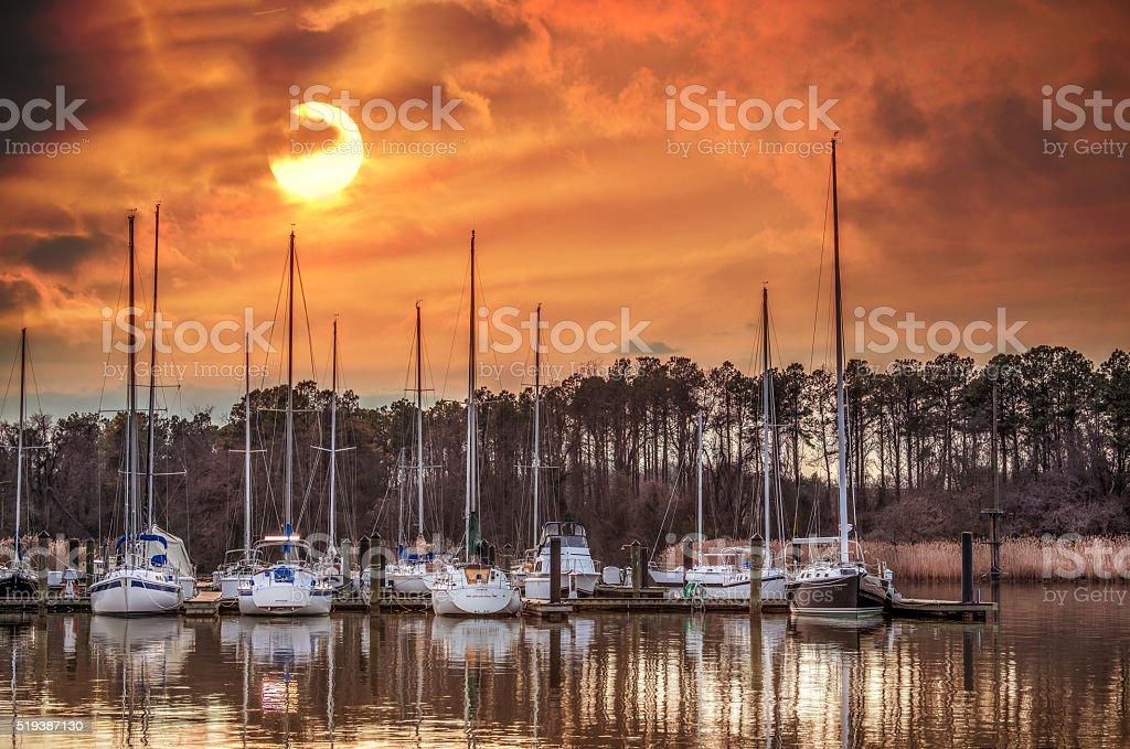 Boat marina on the Chesapeake Bay at sunset stock photo