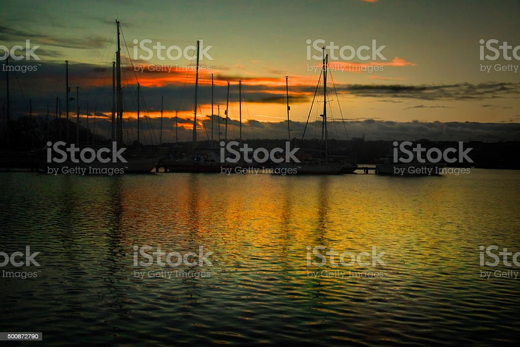 Boat Marina sunset stock photo