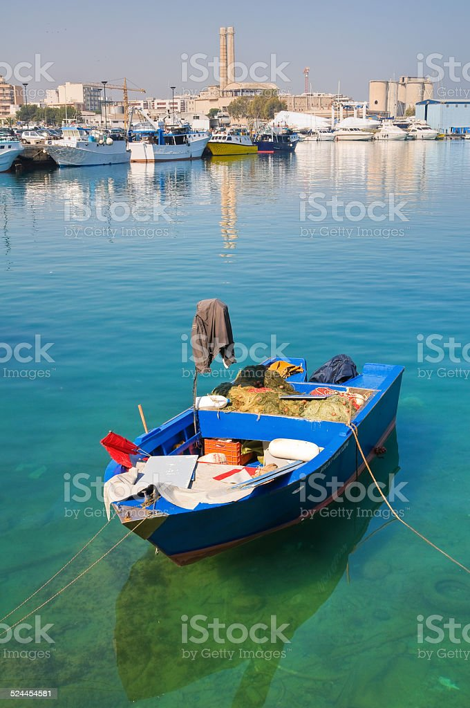 Boat. Monopoli. Puglia. Italy. stock photo