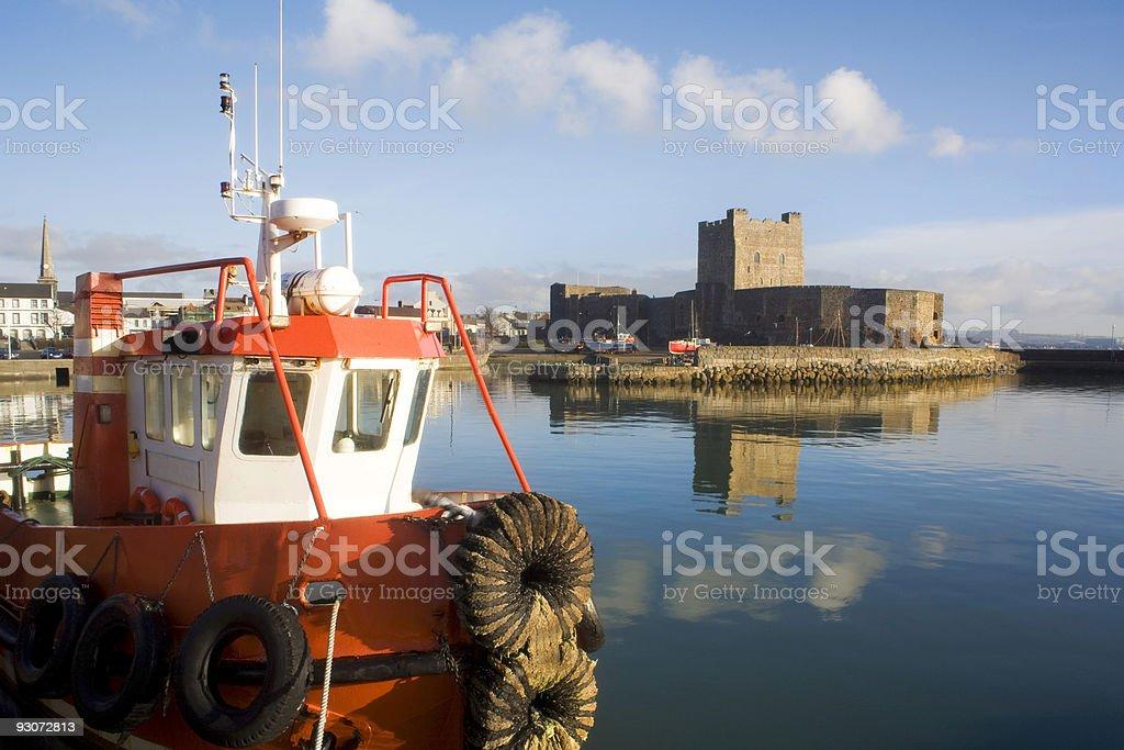 Boat Moored at Carrickfergus stock photo