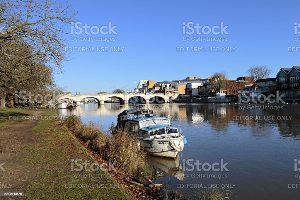 Boat moored on the River Thames near Kingston Bridge stock photo