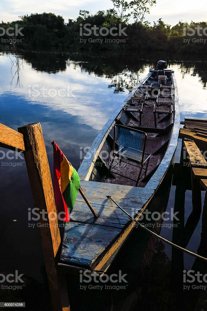 Boat moored in Rio Yacuma stock photo