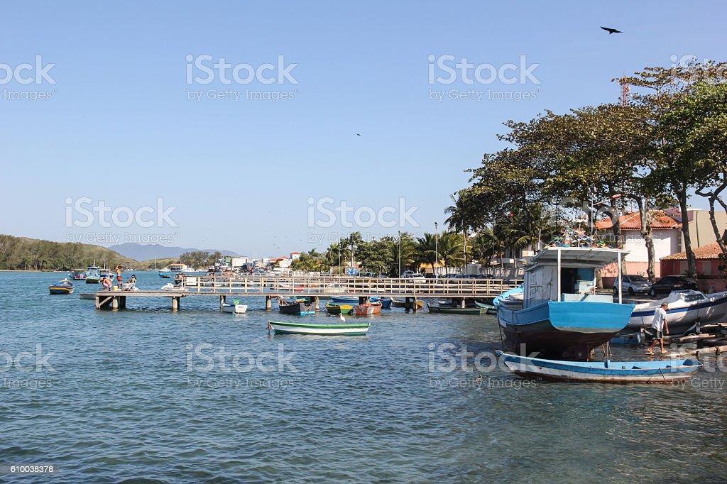 Boat moored in river stock photo
