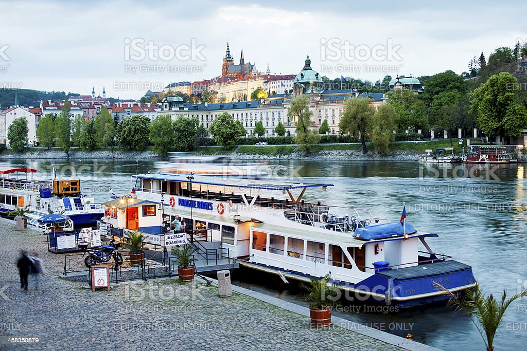 Boat moored of the river Vltava in Prague, Czech Republic royalty-free stock photo