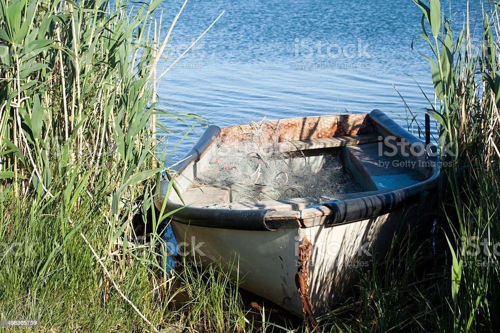 Boat mooring stock photo