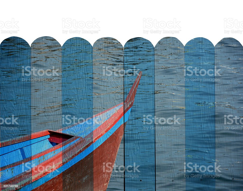 'boat' Mural. The wood painting  concept stock photo