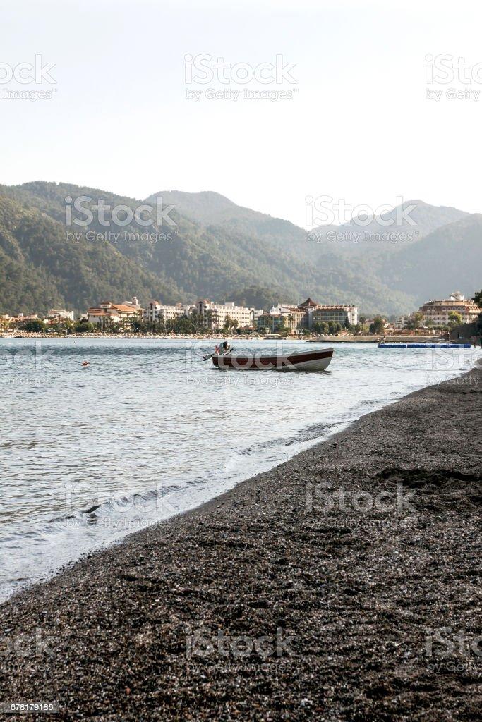 boat near a shore stock photo