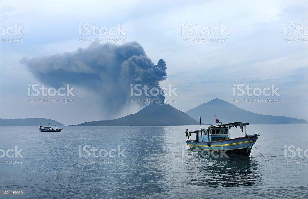 Boat near Anak Krakatau. stock photo