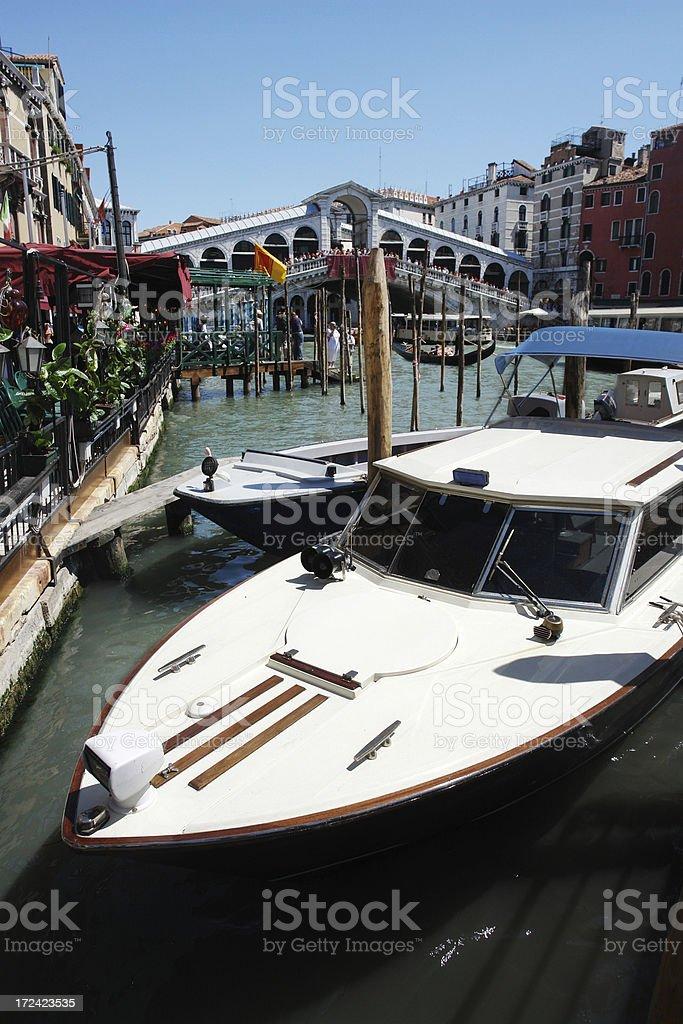 Boat near Rialto Bridge royalty-free stock photo