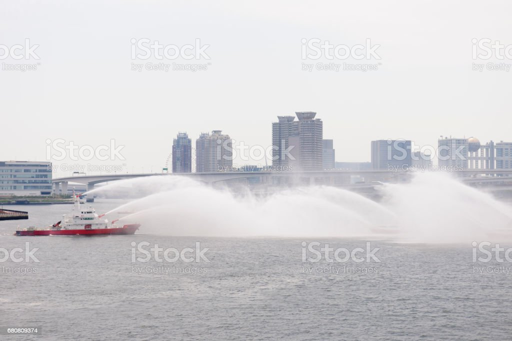 Boat of fire department during fire training stock photo