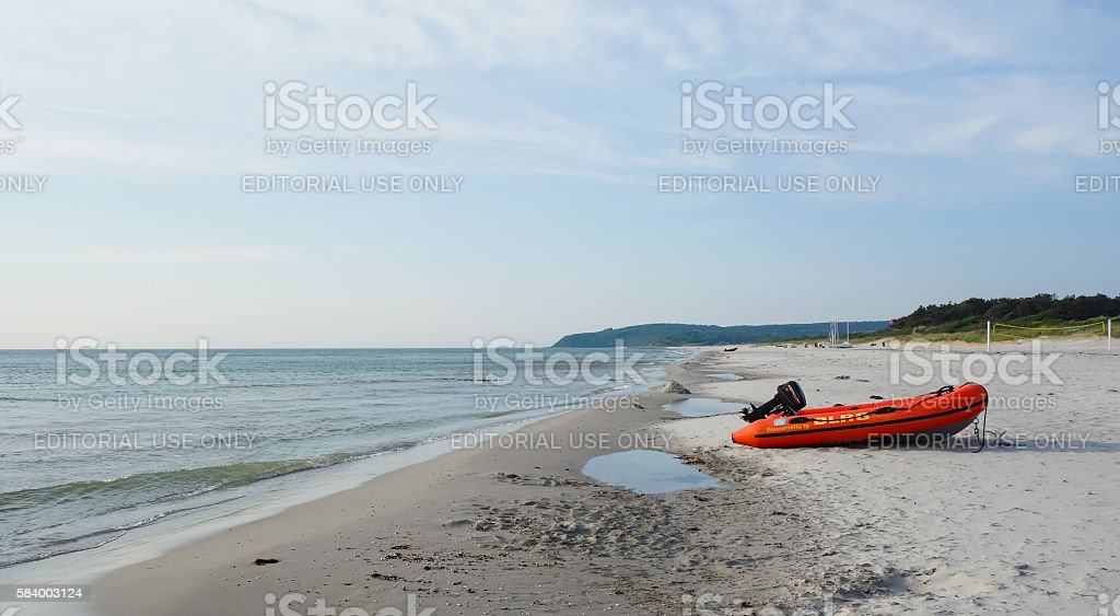 Boat of the DLRG on Hiddensee island, Germany stock photo