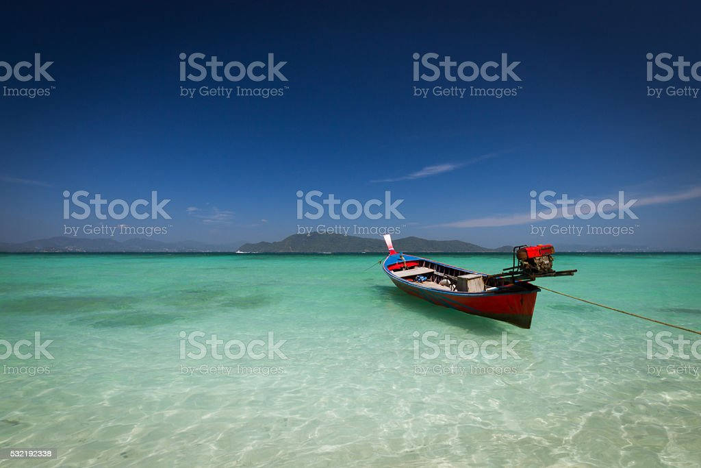 Boat on a beach stock photo