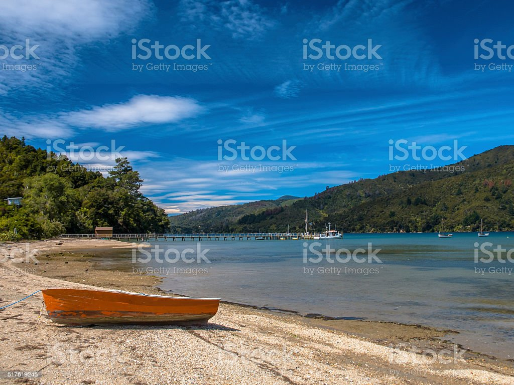 Boat on a Fiord in Marlborough Sounds, South Island stock photo